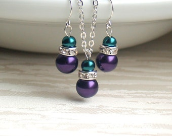 Teal and purple jewelry set, Teal necklace and earrings, Teal and Purple wedding, Teal and purple bridesmaid gift, Teal Bridesmaid jewelry