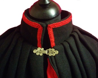 Handmade Black Wool Full Length Satin Lined Cape with Braided collar