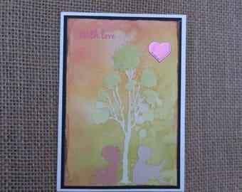 Handmade Card, With Love, Valentine, Girl and Boy, Gum Tree
