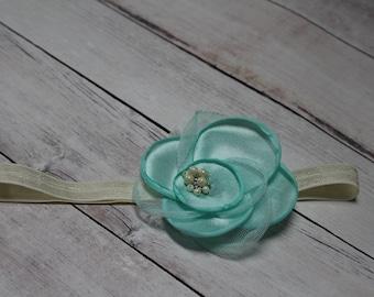 Mint & Cream Newborn/Baby/Toddler Flower Headband with Pearls