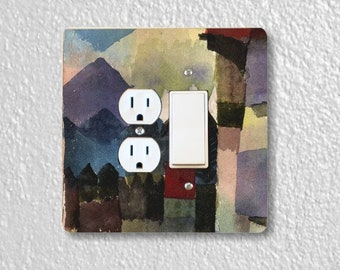 Paul Klee Föhn in Marc's Garden Painting Square Double Duplex Outlet And Decora Rocker Light Switch Plate Cover