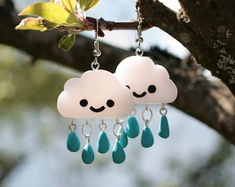 Cute and Happy Rain Cloud earrings. Teal Turquoise droplets. Polymer clay, hanging earrings - MADE TO ORDER