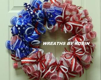 RWB Tube Wreath, Patriotic Wreaths (2756)