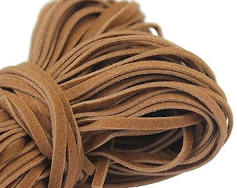 5 meter (15ft) Natural Light Brown Faux Leather Suede Flat Lace Cord Spool- Vegan Friendly (Tan- 4mm)