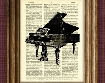 PIANO awesome upcycled vintage dictionary page book art print