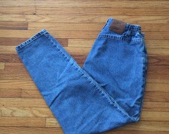Vintage Lee High Waist Elastic Waist Light Wash Denim Jeans (90's)