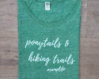 Ponytails & Hiking Trails Eco Tee | Women's Scoop Neck Eco Tri-Blend T-Shirt