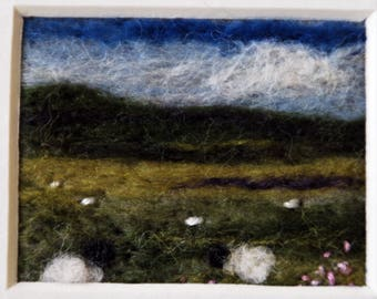 Needle felted landscape picture ...Sheep grazing.