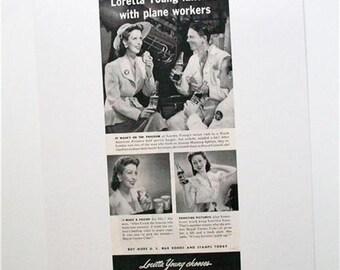 Vintage ROYAL CROWN COLA Ad 1943 Loretta Young WW2 Soda Pop Ephemera Frameable Art Magazine Ad