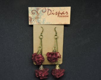 Burgundy Organza Flower Earrings spanish style unique design birthday gift anniversary present women jewelry elegant earrings