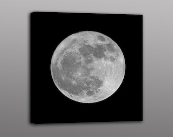 Full Moon Photography Printed on Canvas. Black and White Fine Art Photo of the moon at night.