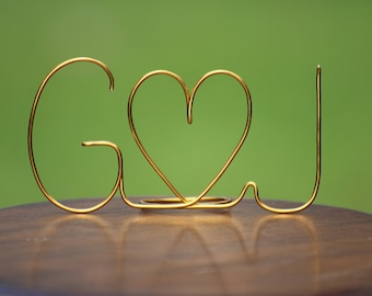 Gold Wire Initials Cake Topper - Decoration - Beach wedding - Bridal Shower - Bride and Groom - Rustic Country Chic Wedding