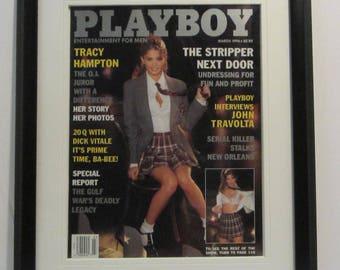 Vintage Playboy Magazine Cover Matted Framed : March 1996 - Amara Dunae