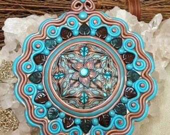 Earth Mandala Polymer Clay Altar Shield Leaves Turquoise