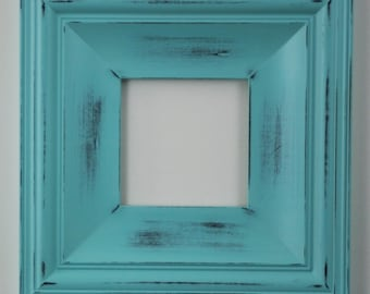 Sizes 4x4 to 8x8 Wood Picture Frame / Shabby Aqua / Cottage Style
