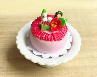 Miniature Christmas Cake,Miniature Cakes ,Dollhouse Bakery,Christmas Cakes,Christmas Accessories,Handmade Cakes