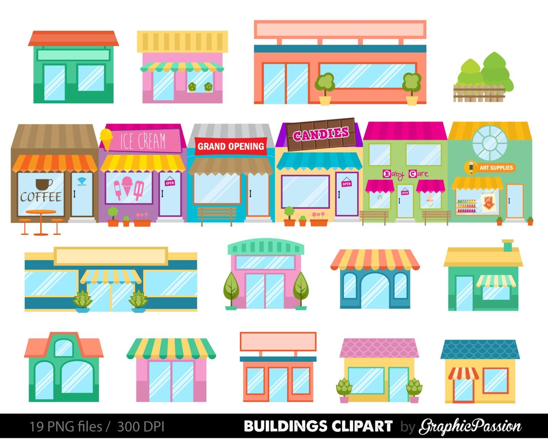 houses clip art set houses clipart cute houses rh etsy com clipart buildings clipart buildings