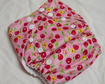 One Size AI2 Cloth Diaper Organic Cotton and Velour Pink Cherries 10-35 lbs All in Two PUL