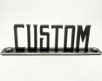 Personalized/custom made vintage industrial nameplates Grind By Design originals