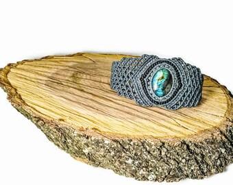 Labradorite micro macrame bracelet Labradorite gemstone  Blue flash labradorite Bridal grey bracelet Boho chic jewelry Healing bracelet Gift