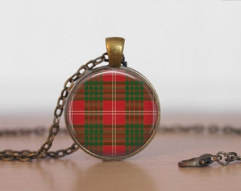 CRAWFORD TARTAN Pendant Necklace / Scottish Tartan Jewelry / Ancestral Jewellery / Crawford Clan /  Family Jewelry / Personalized Gift /