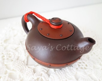 Vintage Chinese Purple Clay Teapot  With Handcarved Wooden Wood Base Zisha Yixing  Yin Yang Stamped Handmade Collectible Teapot