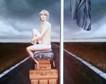 Giclee Small Print of original painting 'His Famous Last Trick' woman naked on luggage on road with sign post and suit