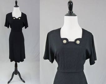 40s Black Dress - Rhinestone Buttons - Harwyn Original - Vintage 1940s - M L