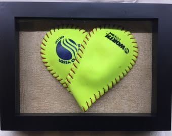 Shadow Box - Softball Heart