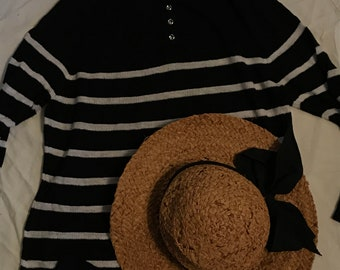 Black (or really dark navy) and white striped linen and rayon sweater, sailors sweater, button back sweater