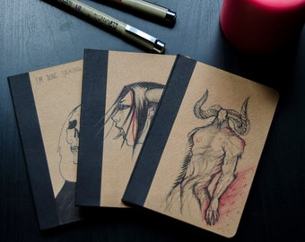 Original Painted Notebook / Sketchbook. Creatures and fantasy.