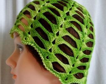 ORIGINAL design cotton crochet sun hat-Green cotton sun hat-Summer holiday hat-Crochet cotton summer hat-Summer beach hat-Size MEDIUM