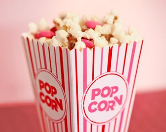 Valentine's Popcorn Box - Pink, White & Red - Mini Gift or Party Favor Printable - DIY Make Your Own Party Xmas Pop Corn Box