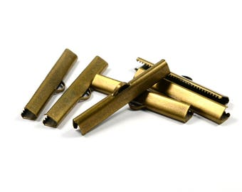 100 Pcs. Antique Brass 6x40 mm Ribbon Crimps End Finished Connectors , Choker Finished Connectors