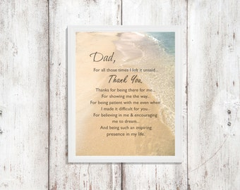 "FATHER'S DAY Quote Photo Gift ""Dad, Thank You"" Caribbean Oceanscape Beach Photo Gift Sand Ocean Beach Hard to buy for Dad Wall Art"