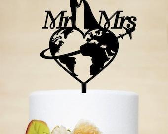 Travel themed Wedding Cake Topper, Custom Cake Topper,Mr & Mrs Cake Topper, Airplane Cake Topper, Personalized travelling Cake Topper P169