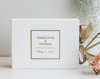 White Wedding Instant photo guest book with gold foil letters Personalized album Wedding Sign in Book wedding Guest book Gold Foil guestbook