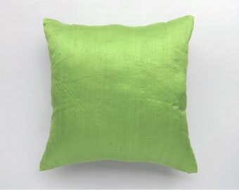 Lime Green silk pillow cover. Decorative dupioni silk pillow. 18 inch throw pillow cover. On discount  20% off