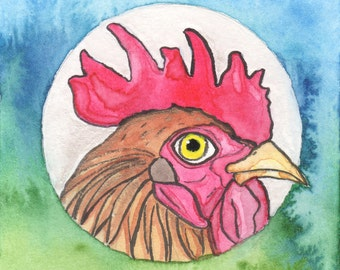 Modern Country Decor, Chicken Coop, Funny Watercolor Painting, Chicken Kitchen Art, Gifts For Women Under 30, Cubicle Decor Gift, New Job