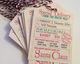16 x Personalised Christmas Tags | Childrens christmas gift wrap