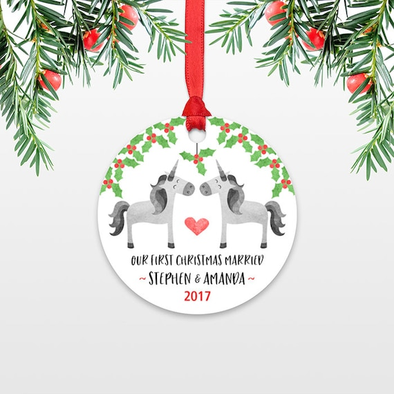 Unicorn Personalized First Christmas Ornament Couple, Our First Christmas Engaged, 1st First Christmas Married, First Christmas Together