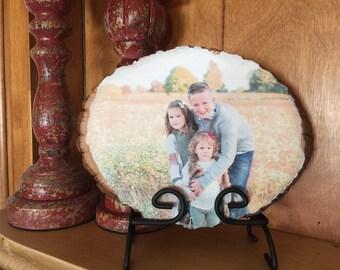 Custom 5th wedding anniversary photographic art on rustic wood slice | Your photo on wood / 5 years wood