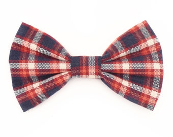 The Langham Bow Tie — Dog Bowtie, Brooklyn Bowtied, Denim, Wedding, Ring Bearer, Dog of Honor, Matching Dog Owner Human, Plaid, Blue Red