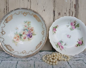 Antique China Bowls - Vintage Rose Dishes, Mismatched China. Wedding + Home Decor, Serving Dish, Shabby Chic China or Decor, Old Pansy China