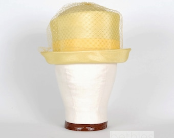 1950s Hat Yellow Hat with Grosgrain Ribbon and Birdcage Veil Easter Hat Vintage 50s Derby Hat