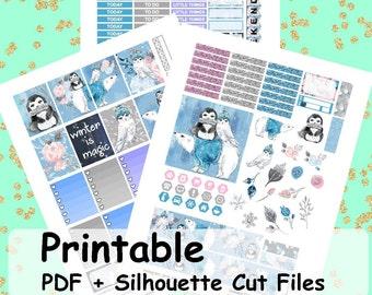 Enchanted Winter Printable Planner Stickers, Weekly Kit, Weekly Planner Stickers, Printable Weekly Kit, Winter Weekly Kit,
