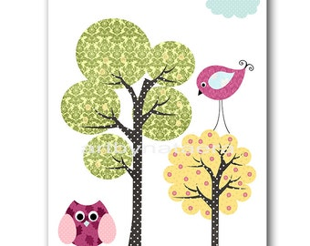 Printable Wall Art Printable Art INSTANT DOWNLOAD Art Baby Nursery Decor Digital Art Baby Girl Nursery Art Digital Download Trees 8x10 11X14