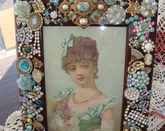 Vintage Rhinestone Jewelry Decorated Frame