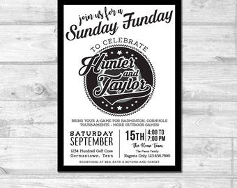Black & White Bridal Shower Invitation | Digital Invitation | Custom Invitation | Couples Shower Invite | Outdoor Games Party