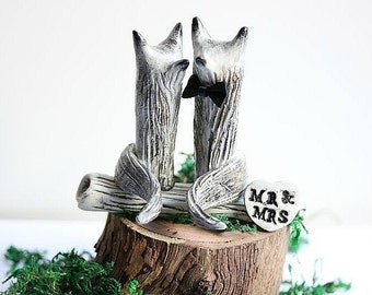 Wolf Wedding cake topper - Clay Wolves- Wolf - Grey Wolves - Woodland Cake Topper - Rustic Cake Topper - Wolf Cake Topper MADE TO ORDER